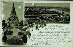 Mondschein Litho Riesa an der Elbe Sachsen, Neue Kirche, Freitreppe im Stadtpark