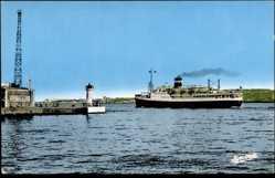 Postcard Alger, Paquebot, La passe et le Courrier de la Cie de Navigation Mixte