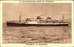 Postcard Paquebot El Mansour, Compagnie de Navigation Mixte, Cie Touache