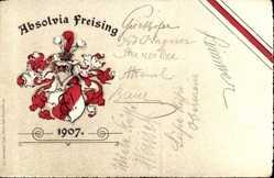 Präge Studentika Litho Freising, Absolvia, Rot, Weiß, Ritterhelm, Krone, Wappen
