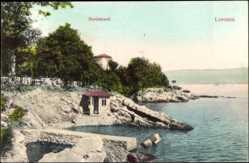 Postcard Lovrana Kroatien, Nordstrand, Pavillon, Steg ins Wasser
