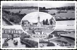 Postcard Skegness East Midlands England, Waterway, North Parade Gardens, Bowling Green