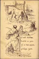 Künstler Ak Ales, Mikolas, Narodni Pisne, Tschechien, Pferd, Bauern
