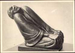 Ak Plastik von Ernst Barlach, Lachende Alte, Holz 1937