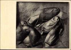 Ak Plastik von Ernst Barlach, Die Verlassenen, Holz 1913