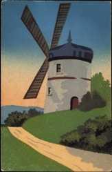 Handgemalt Ak Windmühle am Wegesrand, Feldweg, Wiesen