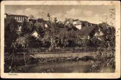 Postcard Dachau, Teilansicht vom Ort, Gewässer, Kirchturm, Häuser, Gärten
