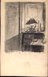 Handgemalt Ak Wohnstube mit Tisch, Laterne, Tür, Flaschen
