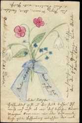 Handgemalt Ganzsachen Ak Blumenstrauß, Glockenblumen, Schleife
