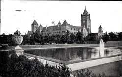 Ak Poznań Posen, Königliches Schloss, Wasseranlagen, Fontäne