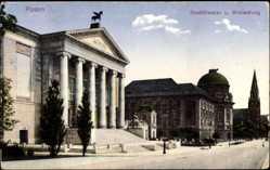 Ak Poznań Posen, Stadttheater und Ansiedlung, Straßenpartie