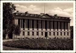 Ak Poznań Posen, Raczynski Bibliothek, Eingangsseite, Vorgarten