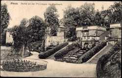 Postcard Riesa an der Elbe Sachsen, Partie an der Freitreppe im Stadtpark