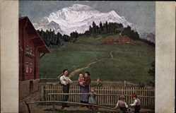 Künstler Ak Thoma, Hans, Abend in der Schweiz, Familie, Alpen