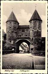 Postcard Amberg in der Oberpfalz Bayern, Straßenpartie mit Blick auf Nabburgertor