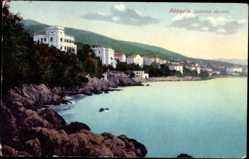 Postcard Opatija Abbazia Kroatien, Südliche Ansicht, Villen am Wasser
