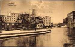 Postcard Tampere Tammerfors Westfinnland, Flusspartie im Winter