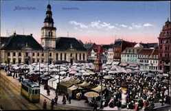 Postcard Mannheim in Baden Württemberg, Blick auf den Marktplatz, Marktstände