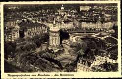 Postcard Mannheim, Fliegeraufnahme, Wasserturm, Straßen, Häuser, Parkanlage