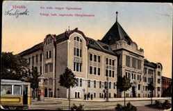 Postcard Novi Sad Ujvidék Serbien, Kath. ungarisches Obergymnasium, Straßenbahn