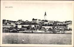 Postcard Belgrad Serbien, Blick vom Wasser auf Salondampfer und Ortschaft