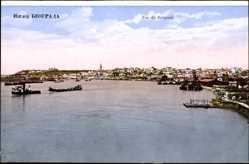 Postcard Belgrad Serbien, Blick übers Wasser auf die Ortschaft