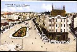 Postcard Belgrad Serbien, La Place Terazije, Straßenpartien, Passanten