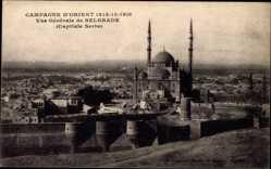Postcard Belgrad Serbien, Vue Générale, Blick auf die Moschee und die Umgebung