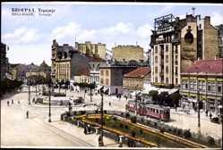 Postcard Belgrad Serbien, Terazije, Straßenpartie, Straßenbahn, Geschäfte