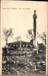 Postcard Mazedonien, Minaret demoli par un Obus, Zerstörter Turm einer Moschee