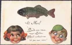 Handgemalt Ak 1. April, 1er Avril, Poisson, Enfants