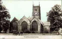 Postcard Tavistock South West England, View of the parish church, horse carriage