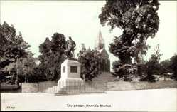Postcard Tavistock South West England, View of Drakes Statue, monument, church