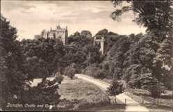 Postcard Dunster South West England, Castle and Coach Road, entrance gate