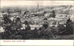 Postcard Bakewell East Midlands England, View of the city from Castle Hill, church