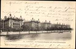 Postcard London City, St. Thoma's Hospital and Albert Embankment