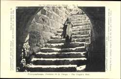 Postcard Jerusalem Israel, Fontaine de la Vierge, The Virgins Well, Treppe