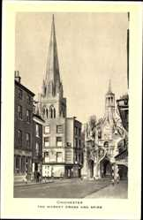 Postcard Chichester South East, The Market Cross and Spire, church, Stationer