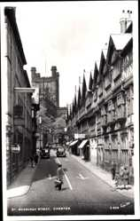 Postcard Chester North West England, St. Werburgh Stret, church, facade, cars