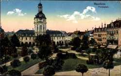 Postcard Mannheim in Baden Württemberg, Blick auf den Paradeplatz, Rathaus, Park