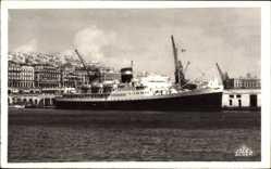 Postcard Alger, Paquebot El Mansour, Dampfschiff im Hafen, Cie de Navigation Mixte