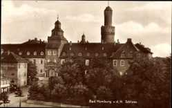 Postcard Bad Homburg v d H, Blick auf das Schloss, links Photographie Willy Dannhof
