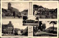 Postcard Homburg im Saarpfalz Kreis, Befreiungsplatz, Zweibrückenstraße, Bahnhof