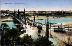 Postcard Mannheim in Baden Württemberg, Friedrichsbrücke, Straßenbahnen