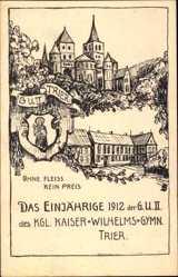 Studentika Ak Trier in Rheinland Pfalz, Einjährige 1912,GU II. Wilhelmsgymnasium