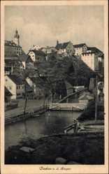 Postcard Dachau Amper Oberbayern, Flusspartie, Holzbrücke