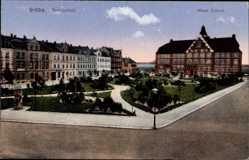 Ak Gröba Riesa an der Elbe Sachsen, Parkanlage vor der neuen Schule