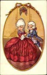 Künstler Passepartout Ak Junges Paar, Rotes Galakleid, Tanzpaar