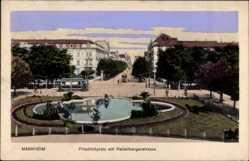 Postcard Mannheim in Baden Württemberg, Friedrichplatz mit Heidelbergerstraße u. Tram