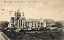 Postcard Delhoven Dormagen, Missionshaus Knechtsfeden, Auffahrt, Umgebung